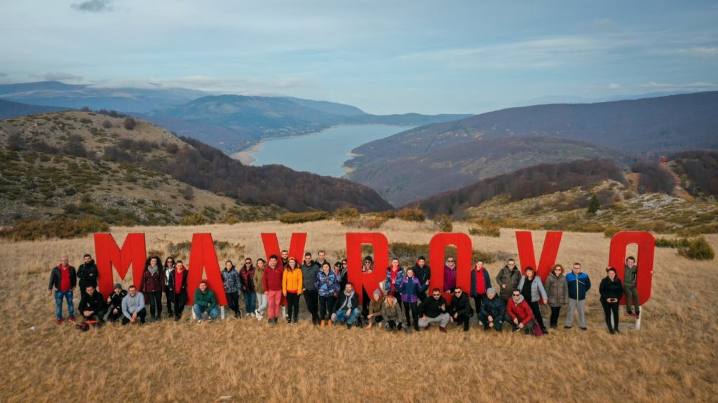 Group photo of the team building in Mavrovo