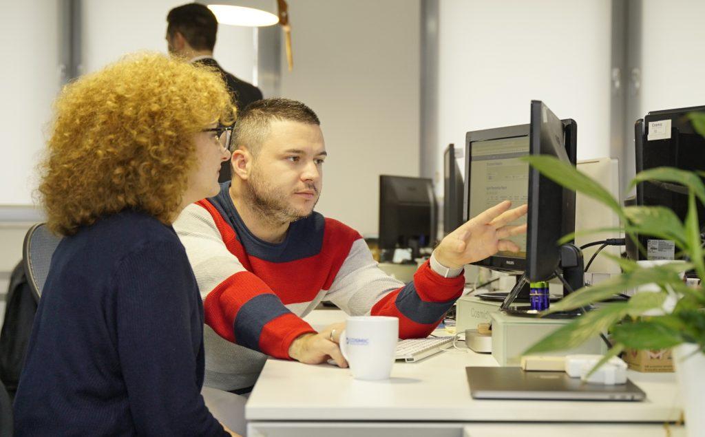 Atanas Krangov working with a colleague