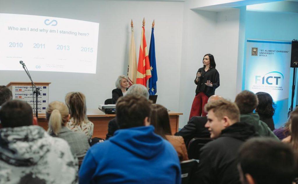Emilija Nikoloska giving a speech at FICT