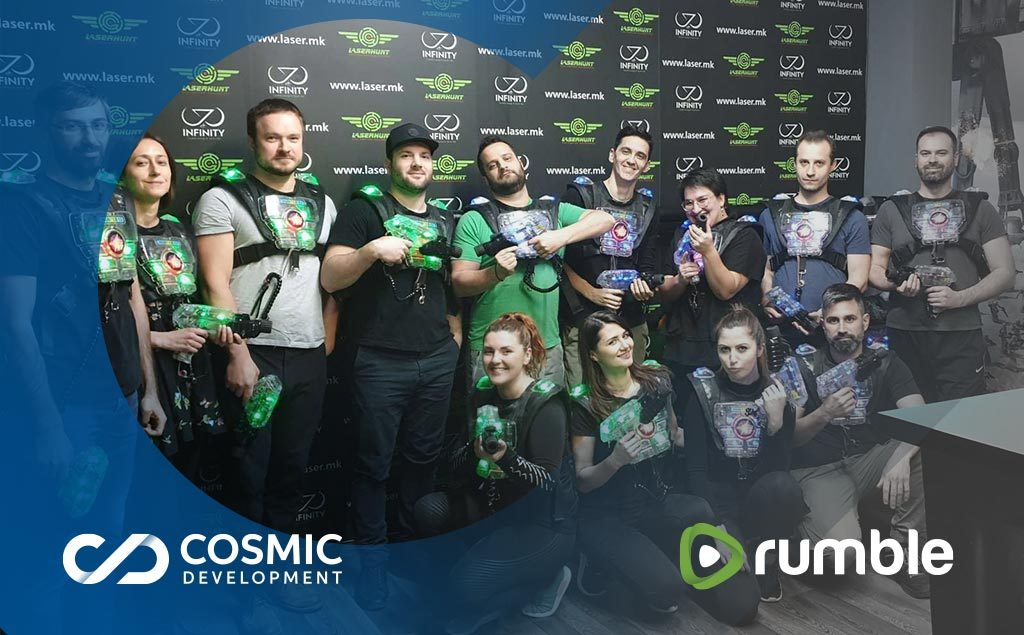 video content rumble team at laser tag