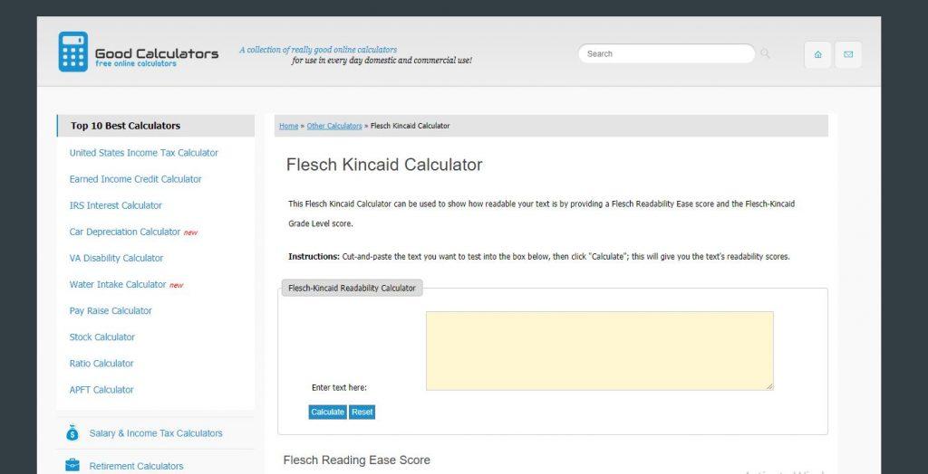 Flesch-Kincaid Score Calculator Free Writing Tools