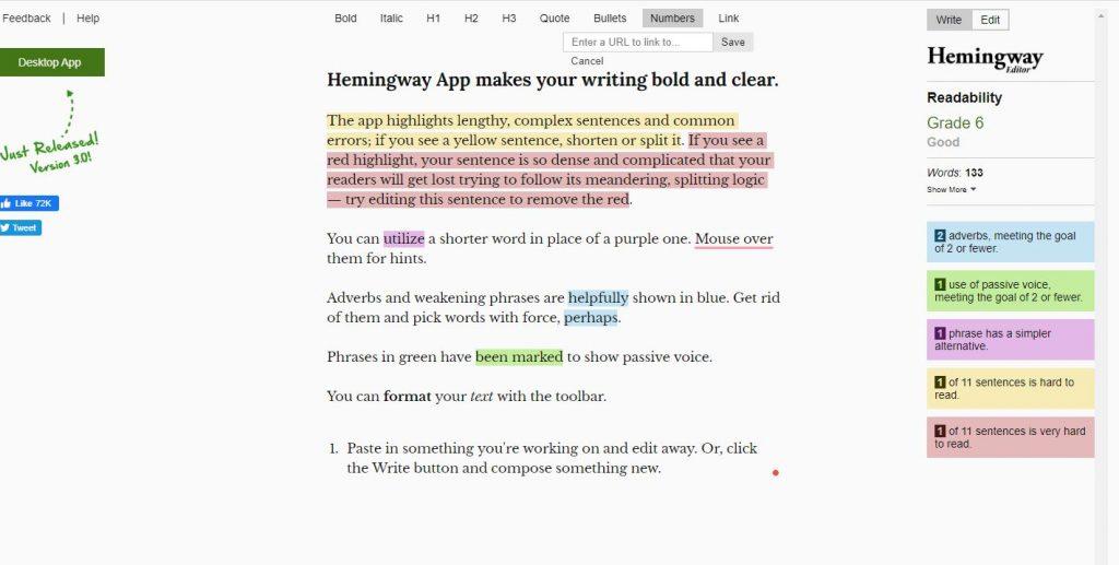 Hemingway App Free Writing Tools