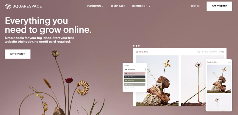 Squarespace website builder  homepage screenshot