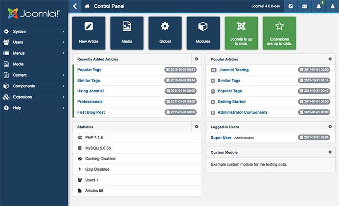 Joomla content management system platform Dashboard Screenshot